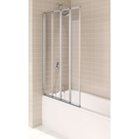 Aqualux  4 Fold Bath Screen - Polished Silver
