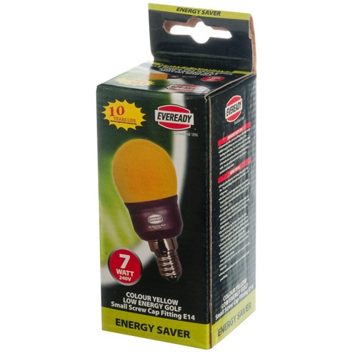 Eveready  CFL Yellow Golf Light Bulb - 7W ES