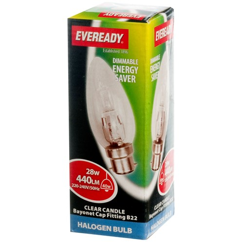 Eveready  Eco Halogen Candle Light Bulb - 28W BC