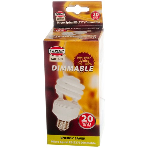 Eveready  Dimmable CFL Spiral Soft Lite Light Bulb - 20W ES