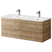 Kara 120cm 2 Drawer Wall Hung Unit & Basin Natural Oak